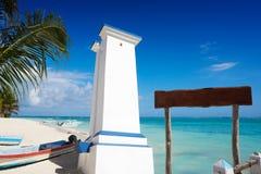 Puerto Morelos bent lighthouse Riviera Maya. Puerto Morelos bent lighthouse in Riviera Maya Caribbean of Mayan Mexico stock photos