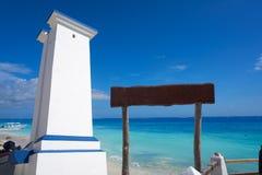 Puerto Morelos bent lighthouse Riviera Maya. Puerto Morelos bent lighthouse in Riviera Maya Caribbean of Mayan Mexico royalty free stock images