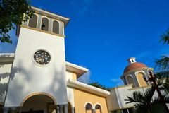 Puerto Morelos church in Riviera Maya stock image