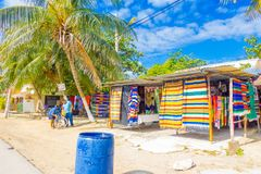 Puerto Morelos, Mexico - January 10, 2018: Outdoor view of fabric store in the streets of Puerto Morelos, Yucatan. Peninsula, Mexico, south of Cancun stock photos