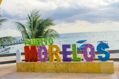 Puerto Morelos, Mexico - January 10, 2018: Outdoor view of a huge letters of puerto morelos in the park in Puerto Stock Photos