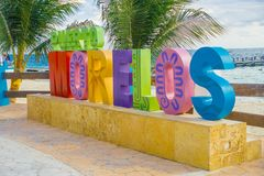 Puerto Morelos, Mexico - January 10, 2018: Outdoor view of a huge letters of puerto morelos in the park in Puerto stock image