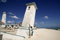 Puerto Morelos Mexico lighthouse after hurricane stock image