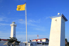 Puerto Morelos new and old inclined lighthouses Royalty Free Stock Photo