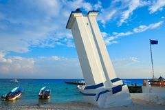 Puerto Morelos bent lighthouse Mexico Stock Image