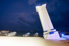 Puerto Morelos bent lighthouse Mexico stock photo