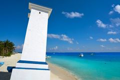 Puerto Morelos old bent lighthouse. In Mayan Riviera Maya of Mexico Stock Photos
