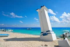 Puerto Morelos old bent lighthouse. In Mayan Riviera Maya of Mexico Stock Photography