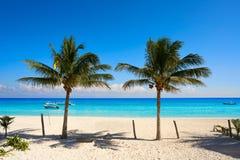 Puerto Morelos strand i Riviera Maya fotografering för bildbyråer