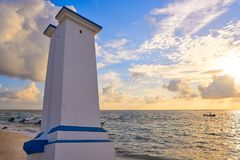 Puerto Morelos sunrise lighthouse Riviera Maya stock image