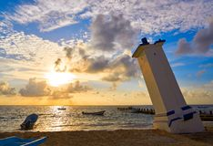 Puerto Morelos sunrise lighthouse Riviera Maya stock images