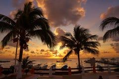 Puerto Morelos sunset in Riviera Maya. Puerto Morelos sunset beach in Riviera Maya of Mayan Mexico stock photo