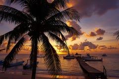 Puerto Morelos sunset in Riviera Maya. Puerto Morelos sunset beach in Riviera Maya of Mayan Mexico royalty free stock image