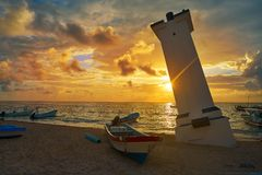 Puerto Morelos sunset bent lighthouse Mexico stock photos