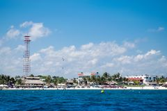Puerto Morelos wybrzeże w Riviera majowiu zdjęcia stock