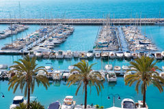 Puerto nautic del puerto deportivo de Moraira Alicante alto en mediterráneo Fotos de archivo libres de regalías