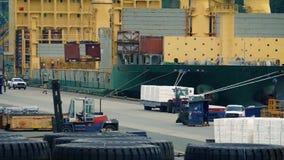Puerto ocupado con los trabajadores que cargan la nave almacen de video