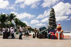 Puerto público de Cozumel con la decoración por Año Nuevo Fotografía de archivo libre de regalías