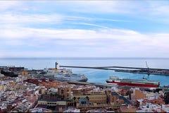 Puerto panorámico de Almería Imagen de archivo libre de regalías