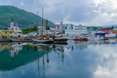 Puerto pesquero de Husavik Imágenes de archivo libres de regalías