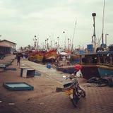 Puerto pesquero de Mirissa Imagen de archivo libre de regalías