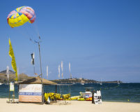 PUERTO POLLENSA, MALLORCA - 27 JULY 2015 Beach Water Sports Centr Royalty Free Stock Photo
