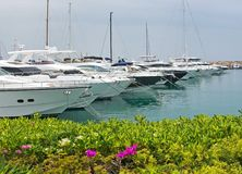 Luxury yachts in Puerto Portals marina. PUERTO PORTALS, MALLORCA, SPAIN - APRIL 24, 2018: Luxury yachts moored in the marina of Puerto Portals on an overcast day Stock Image