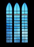 Blue windows of the Cathedral in Puerto Princesa City, Palawan Province, Philippines stock image