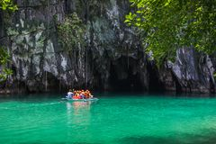 Beautiful lagoon, the beginning of the longest navigable underground ri. Puerto Princesa, Palawan, Philippines - 03 of March 2018 Royalty Free Stock Images