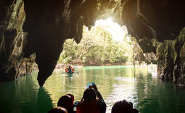 Puerto Princesa Palawan subterranean underground river in Philippines. Inside view point of Puerto Princesa Palawan subterranean underground river at exit side Stock Photo