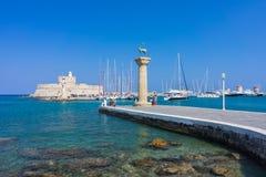 Puerto Rhodes Greece Europe de Mandraki Imagenes de archivo
