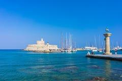 Puerto Rhodes Greece Europe de Mandraki Foto de archivo