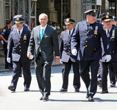 Puerto Rican Day Parade. Police commissioner Ray Kelly and policemen marching on 5th avenue at the National Puerto Rican day parade in NYC royalty free stock photography