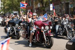 The Puerto Rican People`s Parade. Chicago, Illinois, USA - June 16, 2018: The Puerto Rican People`s Parade, Puerto rican bikers from the Latino Americanos stock photo