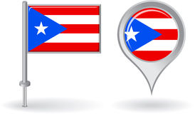 Puerto-Rican pin icon and map pointer flag. Vector Royalty Free Stock Photography