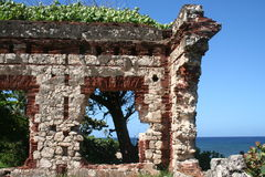Puerto Rican Ruin. Wall section of lighthouse ruin near Aguadilla, Puerto Rico stock photography