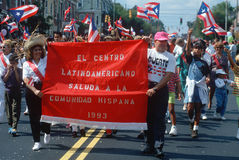 Puerto Ricans marching in a parade Stock Photo