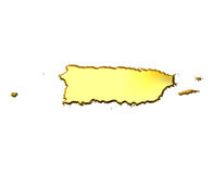 Puerto Rico 3d Golden Map. Isolated in white Stock Photography