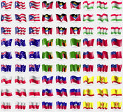 Puerto Rico, Antigua and Barbadua, Tajukustan, Australia, Zambia, Samoa, Poland, Haiti, Chuvashia. Big set of 81 flags. Royalty Free Stock Photography