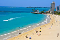 Puerto Rico Beach. View of Isla Verde beach from Water and Beach Club in San Juan, Puerto Rico