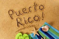 Puerto Rico beach sand word writing Stock Image