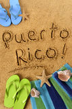 Puerto Rico beach sand word writing vertical Stock Photography