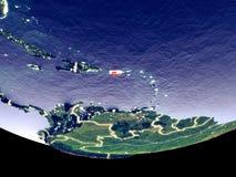 Puerto Rico bij nacht van ruimte stock foto