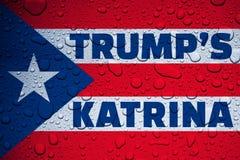 PUERTO RICO, CARIBBEAN, 28 September 2017 - Trump's Katrina. Digital Illustration of a wet Puerto Rico flag Stock Photos