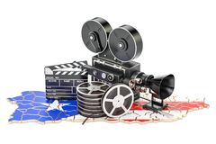 Puerto Rico cinematography, film industry concept. 3D rendering. Isolated on white background Royalty Free Stock Photos