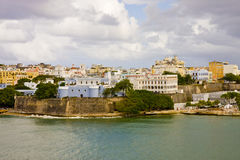 Puerto Rico on a Cloudy Day. Buildings on the coast of San Juan, Puerto Rico Royalty Free Stock Images
