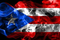 Puerto Rico dymu flaga, Stany Zjednoczone terytorium zależna flaga zdjęcie stock