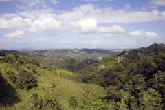 Puerto Rico facing north. Landscape of Puerto Rico on a sunny afternoon.  Taken from an elevation in Bayamon and facing North toward San Juan on December, 2009 Royalty Free Stock Images
