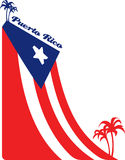 Puerto Rico flag. The flag of Puerto Rico and palms Royalty Free Stock Images