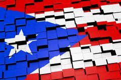Puerto Rico flag background formed from digital mosaic tiles, 3D rendering. Modern 3D rendered concept of numerous square tiles sliding together to form the Royalty Free Stock Image